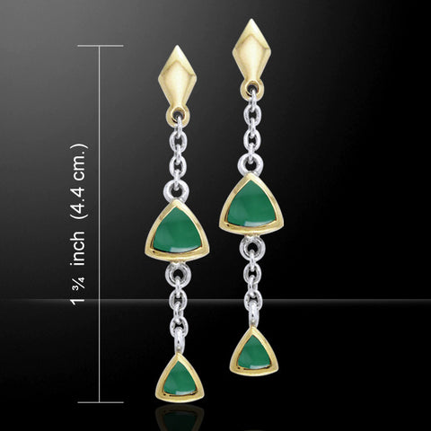 Hanging Triangles Art Deco Dangle Earrings in .925 Sterling Silver with gold accent - choice of gemstone