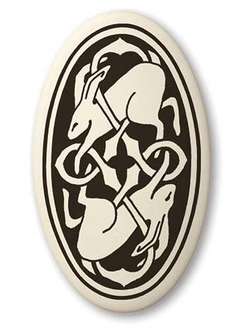 Celtic Hare Oval Shaped Porcelain Pendant