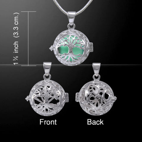 Celtic Tree Harmony Globe Pendant in .925 Sterling Silver with Green chime bola ball Necklace