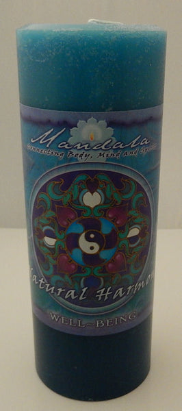 Harmony Mandala Pillar Candle for Well Being Crystal Journey Candles 2 tone Blue