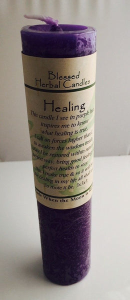 Healing Candle Coventry Creations Blessed Herbal Purple Healing Pillar Candle