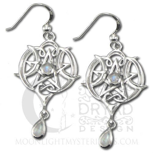Heart Pentacle Earrings in .925 Sterling Silver - Dryad Design Goddess Moonstone gem Heart earrings