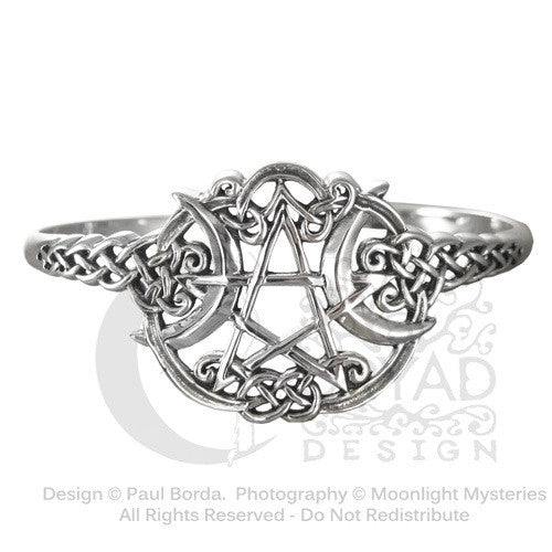 Heart Pentacle Bracelet in .925 Sterling Silver - Dryad Design Celtic Star Heart Cuff Bracelet