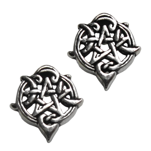 Heart Pentacle Earrings in .925 Sterling Silver - Dryad Design Crescent Moon Pentagram Stud Earrings