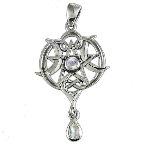 A Heart Pentacle Pendant in .925 Sterling Silver - Dryad Design Triple Goddess Pendant w/ Moonstone
