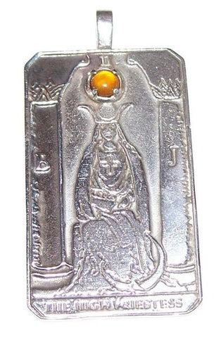 HIGH PRIESTESS Tarot Card Pendant in .925 Sterling Silver with Genuine Amber