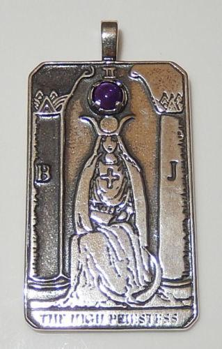HIGH PRIESTESS Tarot Card Pendant in .925 Sterling Silver with Genuine Amethyst gemstone