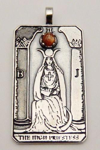 High Priestess Tarot Card Pendant Sterling Silver with Sunstone gem