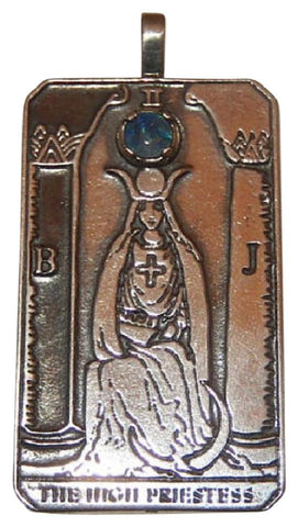 HIGH PRIESTESS Tarot Card Pendant in .925 Sterling Silver with Genuine Opal Gemstone