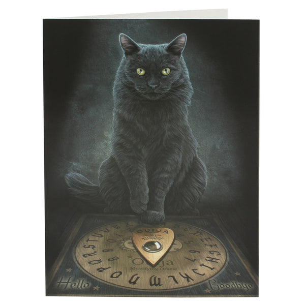 Black Cat Greeting Card by Lisa Parker - His Master's Voice Black Cat Ouija board Kitty Card
