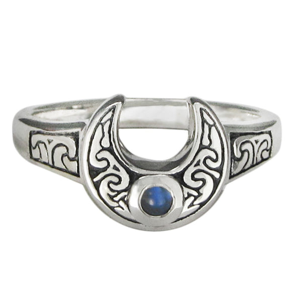 Horns of Isis Ring in .925 Sterling Silver - Horned Moon Ring with natural Rainbow Moonstone accent