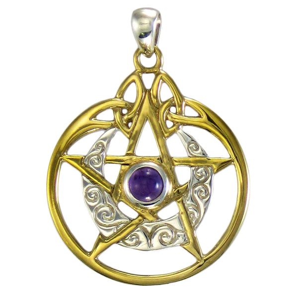 Horned Moon Pentacle Pendant with Celtic Swirl Pattern in .925 Sterling Silver and Gold  - Dryad Design Moon Pentacle with Amethyst