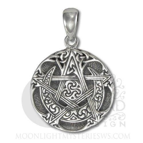 Moon Pentacle Pendant in .925 Sterling SILVER - Dryad Design Celtic ISIS small solid silver pendant