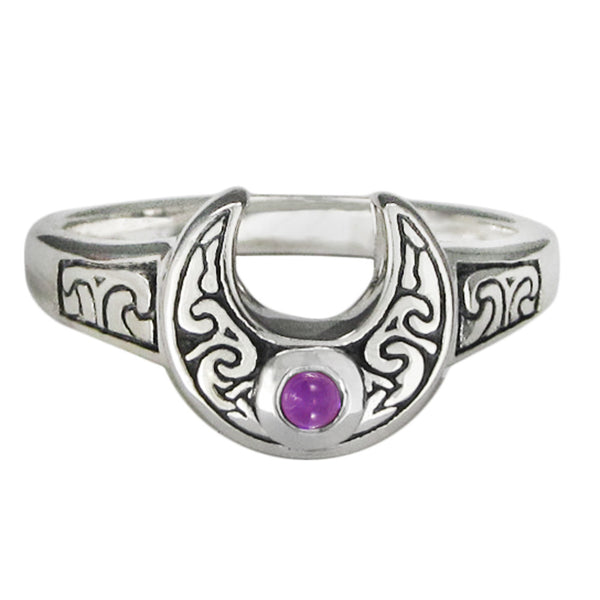 Horns of Isis Ring in .925 Sterling Silver - Horned Moon Ring with Amethyst gemstone