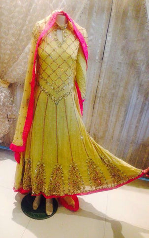 Indian Pakistani Bridal Dress Fancy Party Wedding Dress Full Flair Yellow Suit