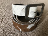 Mens Waistband Belt - Genuine Leather Real Fur Belt Handmade Womens Size 41-42 Inches