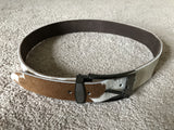 Mens Waistband Fur Belt Genuine Leather Real Fur Brown Belt Handmade Womens Belt Size 31-32 Inches