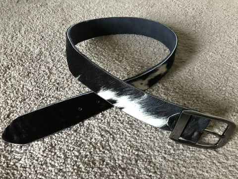 Mens Fur Waistband Fur Belt Genuine Leather Real Fur Belt Handmade Womens Belt 29-30 inches