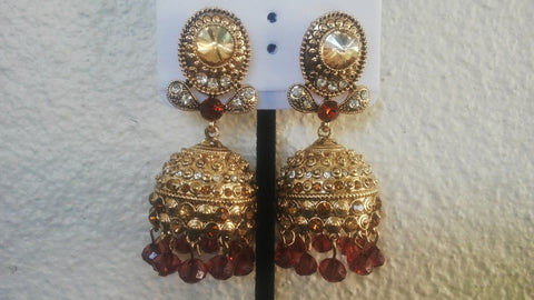 Fancy Bridal Jhumka Indian Earrings Jhumki Fancy Golden and Maroon Bollywood Fashion Jewelry