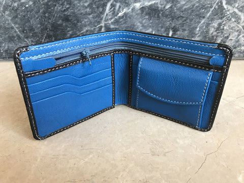 Black and Blue Leather Wallet - Genuine Real Supreme Leather Men's Bifold Handmade Cardholder Purse Coin Pocket