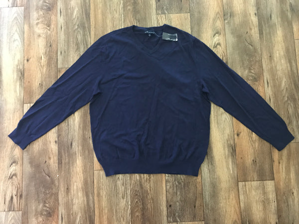 John Ashford Mens Navy Long Sleeves V-Neck Cotton Pullover Sweater Size XL JA