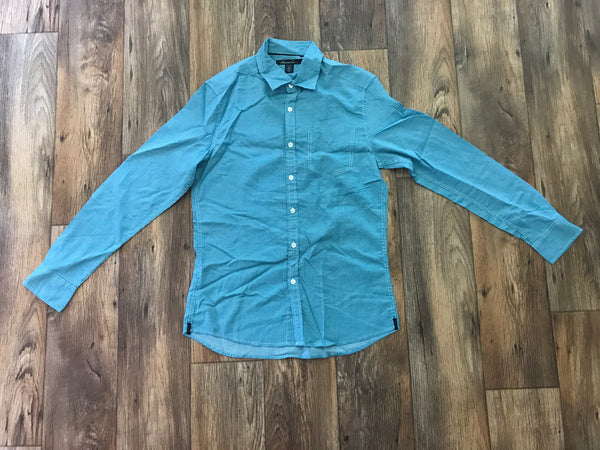 Kenneth Cole Mens Shirt Long Sleeve Button Front Dress Shirt Green Size Small