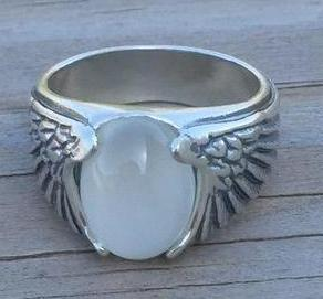 Sterling Silver Eagle Wing Ring with Natural Moonstone
