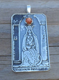 HIGH PRIESTESS Tarot Card Pendant in .925 Sterling Silver with Genuine Sunstone gemstone