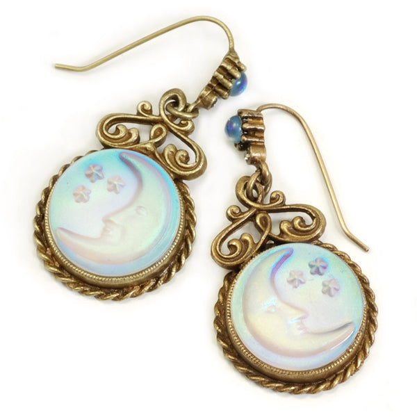Iridescent Moon Earrings SWEET ROMANCE - Cameo aurora satin glass moon and star earrings - Bronze tone