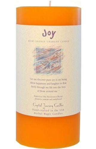Joy Reiki candle Crystal Journey CANDLES 3x6 Pillar Herbal Magic Pagan Wicca