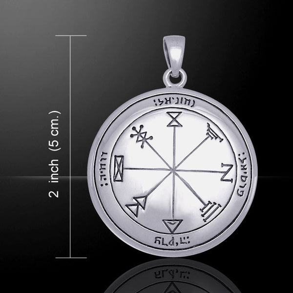 First Pentacle of Jupiter Talisman in Silver Plated White Bronze - Solomon Pentacle Pendant for Wealth