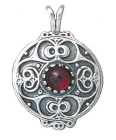 BATTERSEA Shield Pendant in .925 Sterling Silver - Celtic La Tène style Ceremonial Shield Pendant with Gemstone Choice