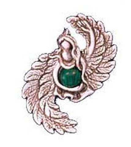ANGEL of ABUNDANCE Pendant in .925 Sterling SILVER w/ Natural Malachite - for Prosperity, Spiritual bounty, & to protect Assets