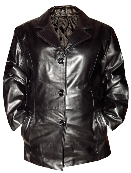 Women's Black LEATHER Jacket Genuine Luxury Leather Soft Supple Black Blazer Lrg
