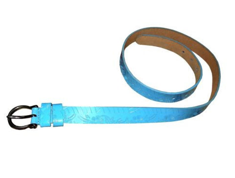 Women's Robin's Egg BLUE LEATHER Belt Genuine luxury Leather Adj FLOWER design Size 34-35 inches