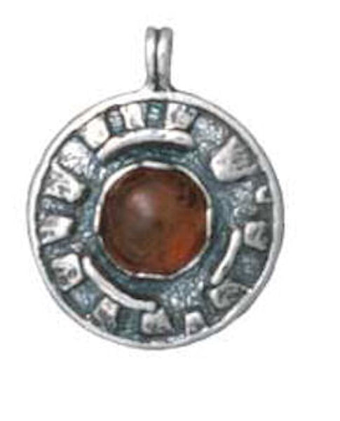 Sacred MYSTERIES of STONEHENGE Pendant in Sterling Silver with choice of gemstone - Druidic Amulet