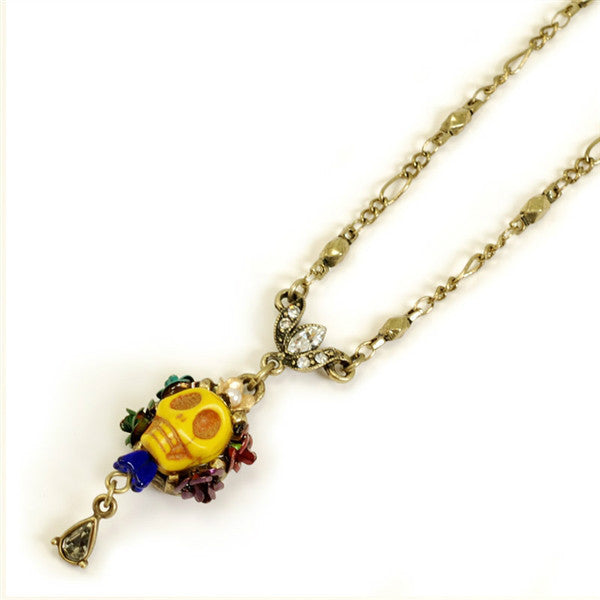Yellow SKULL QUEEN Necklace SWEET ROMANCE Ollipop Golden SKULL Day of the DEAD