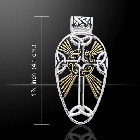 Celtic Cross Pendant in .925 Sterling Silver with 18K Gold accent - Divine RADIANCE Celtic Elegance