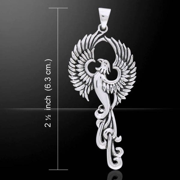 PHOENIX Rising Pendant in .925 Sterling Silver - FIRE BIRD Rebirth SUN Bird jewelry