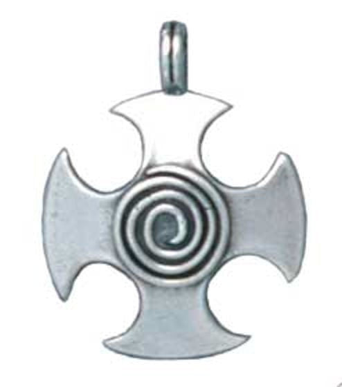 Celtic CROSS Spiral Pendant .925 Sterling Silver Celtic Cosmic Spiral amulet