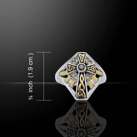 Celtic Cross Ring in .925 Sterling Silver with 18K Gold accents - Divine RADIANCE FAITH Trinity knot ring
