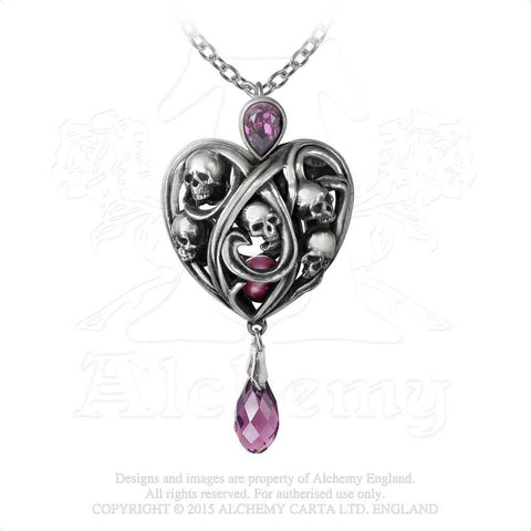 Keepers of Tyrian Pendant - Alchemy Gothic Skull Heart Purple Pearl Heart shaped Cage Necklace