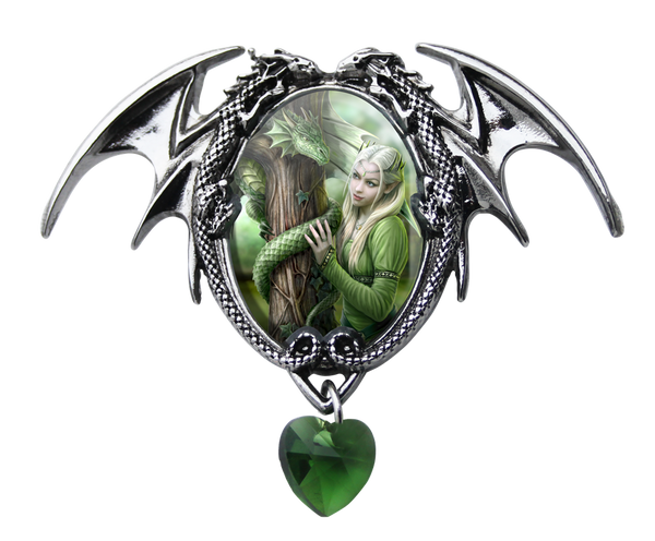 Kindred Spirits Dragon Cameo Necklace Anne Stokes | Elf Maiden with Dragon Crystal Heart Choker necklace