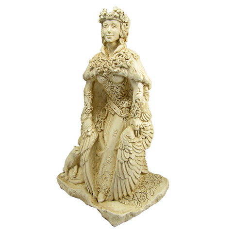 Freya Statue - Norse Goddess Viking Statuary - Large Dryad Design Bone or Stone Finish Freyja and her Cats Statue