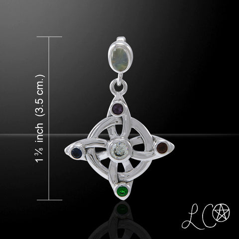 Elemental Witches Knot Pendant in .925 Sterling Silver - Laurie Cabot Jewelry with multiple gemstones
