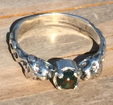 Celtic LION Ring in .925 Sterling Silver w/ natural Bloodstone gem - Two-headed Medieval LION GODDESS ISHTAR Ring