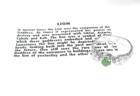 Celtic LION Ring in .925 Sterling Silver w/ natural Jade gem - Two-headed Medieval LION GODDESS ISHTAR Ring