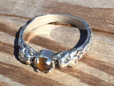 LION Ring in .925 Sterling Silver w/ natural Tiger's Eye gem - Two-headed Medieval LION GODDESS ISHTAR Ring