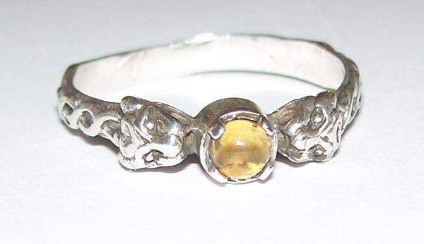 LION Ring in .925 Sterling Silver w/ natural Citrine gem - Two-headed Medieval LION GODDESS ISHTAR Ring