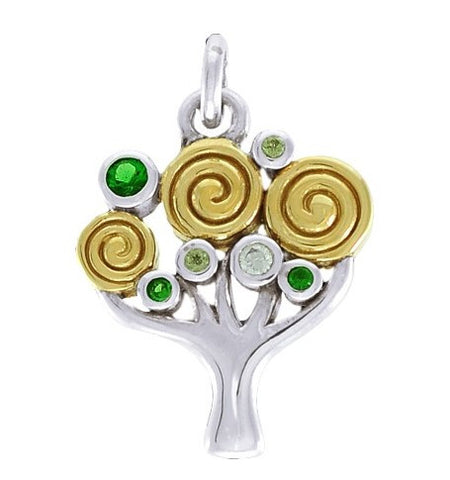 Fantasy Tree of Life Pendant in .925 Sterling Silver - World Tree Modern Design Jewelry with crystal accents